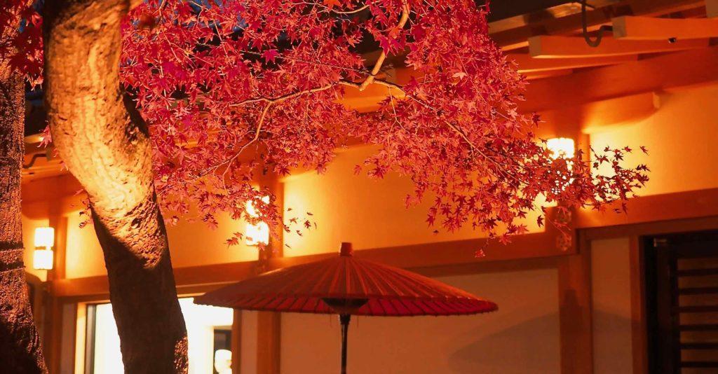 紅葉と和傘