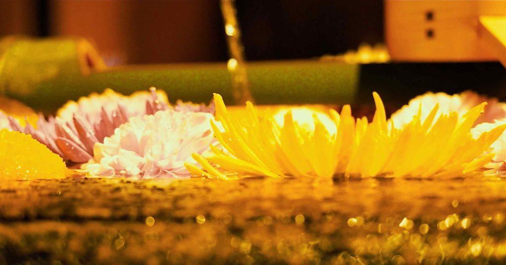 勝林寺の手水舎 菊の花