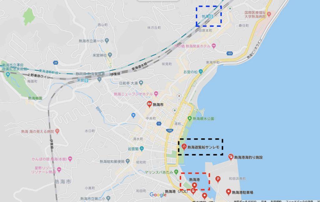 熱海港へのアクセス