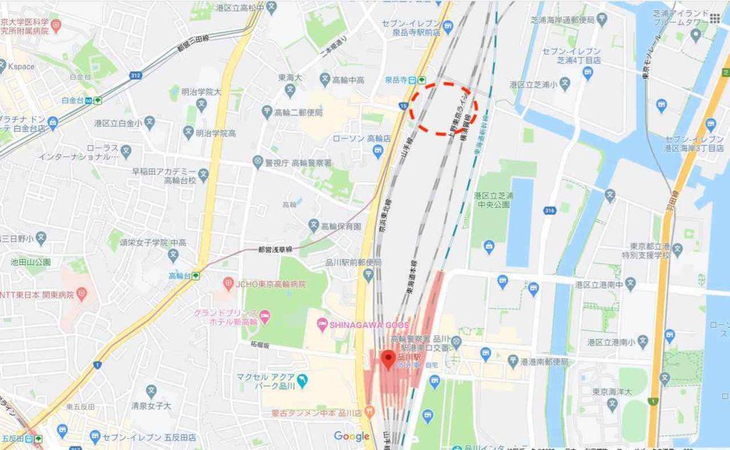 品川駅と高輪ゲートウェイ駅へのアクセス
