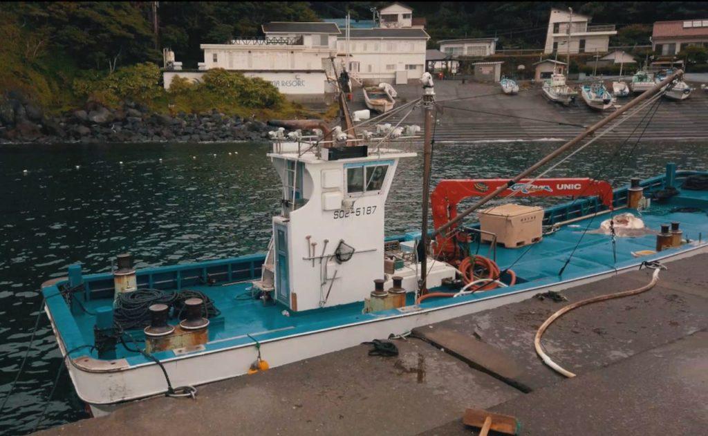 赤沢温泉ホテルの真下に小さい漁港がある