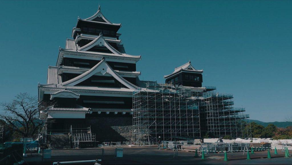 再建途中の熊本城 天守閣